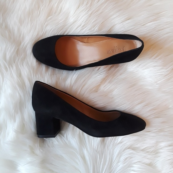 Inch Black Suede Chunky Heels Size